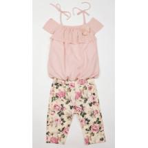 Комплект на девочку летний розы (бриджи и блуза)