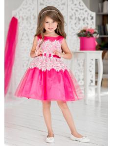 Платье нарядное малинового цвета с белым кружевом Эвита
