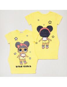 """Платье желтого цвета с изображением куколки и блестками """"Лола"""""""