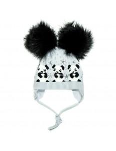 """Шапка на завязках светло серая зимняя с двумя черными помпонами """"три панды"""""""
