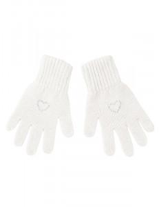 "Перчатки для девочки белого цвета ""Валентинка"""