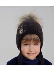 """Шапка зимняя с помпоном темно-коричневого цвета для мальчиков """"Urban"""""""