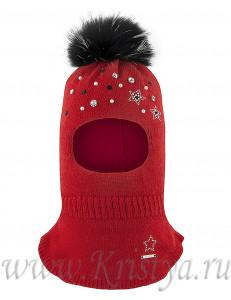Шапка-шлем для девочек красного цвета с бусинками ВЕНЕРА