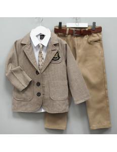 """Костюм для мальчиков с пиджаком бежевого цвета """"Рыцарь"""""""