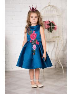 """Платье нарядное цвета морской волны с вышивкой """"Дуэт"""""""