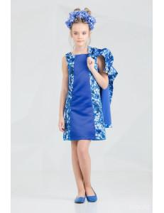 """Комплект синего цвета платье и пальто """"Брайт лук"""""""